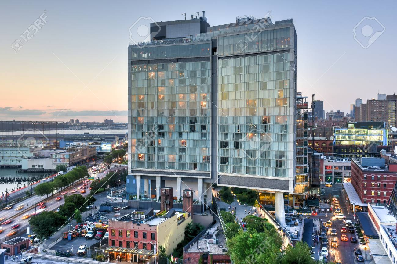 New York City - August 7, 2015: View across Manhattan Meatpacking District and Chelsea from above, at sunset with The Standard Hotel in view. - 43802195