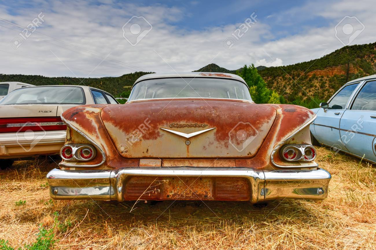 Rusting Old Car In A Desert Junk Yard. Stock Photo, Picture And ...