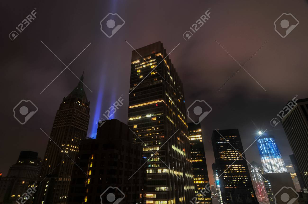 Stock Photo   The Tribute In Lights Alongside The World Trade Center In  Downtown Manhattan, New York City.