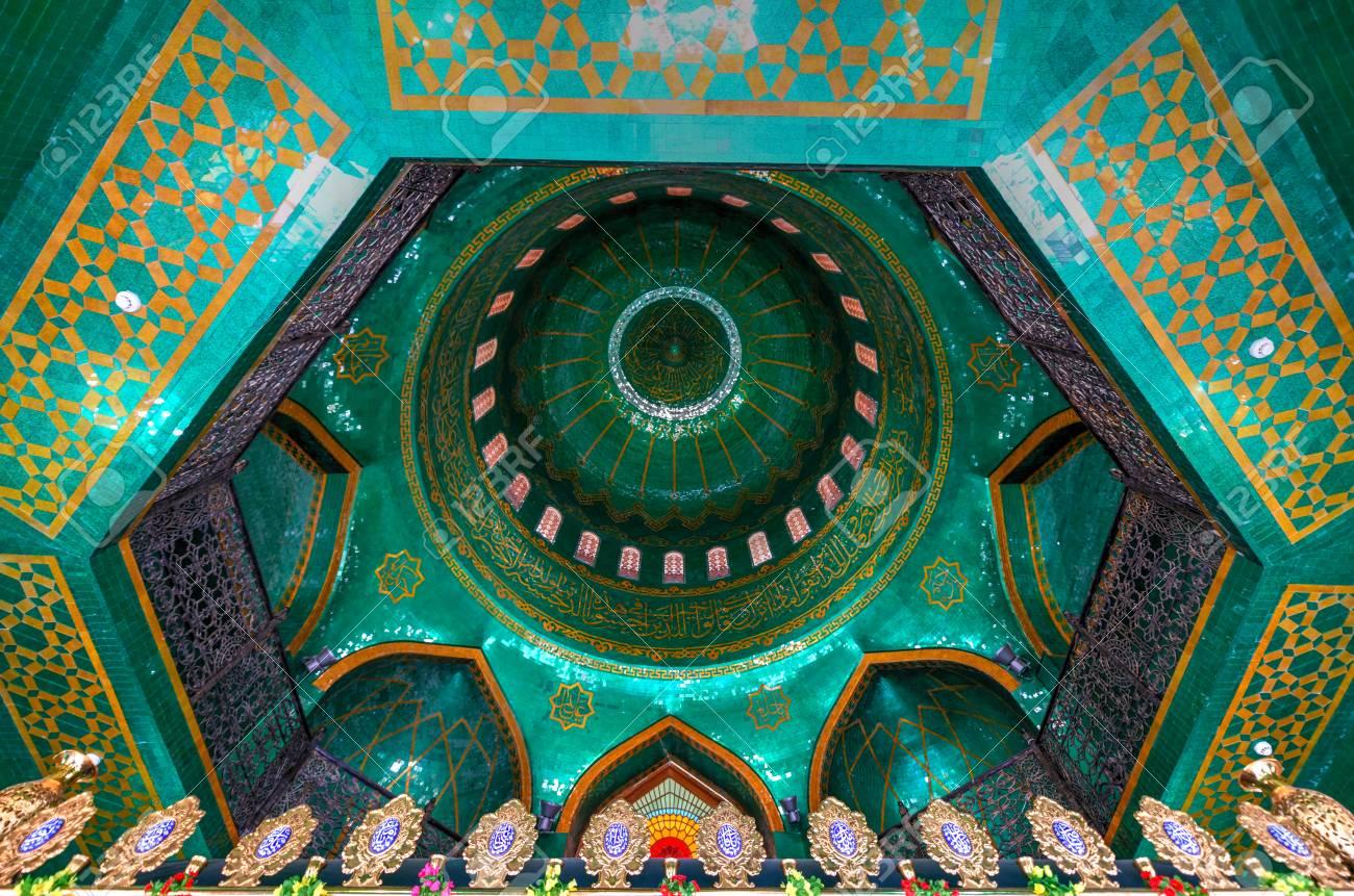 Baku, Azerbaijan - Jul 14, 2018: TheBibi-Heybat Mosqueis a historical mosque inBaku,Azerbaijan. The existing structure, built in the 1990s, is a recreation of the original mosque. - 120755985
