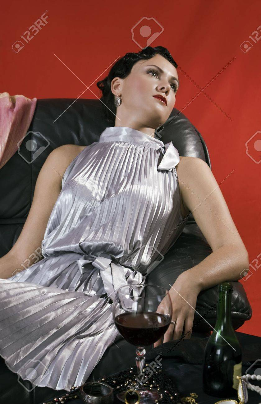Poisoned young woman. Studio shot in a retro style Stock Photo - 6262310