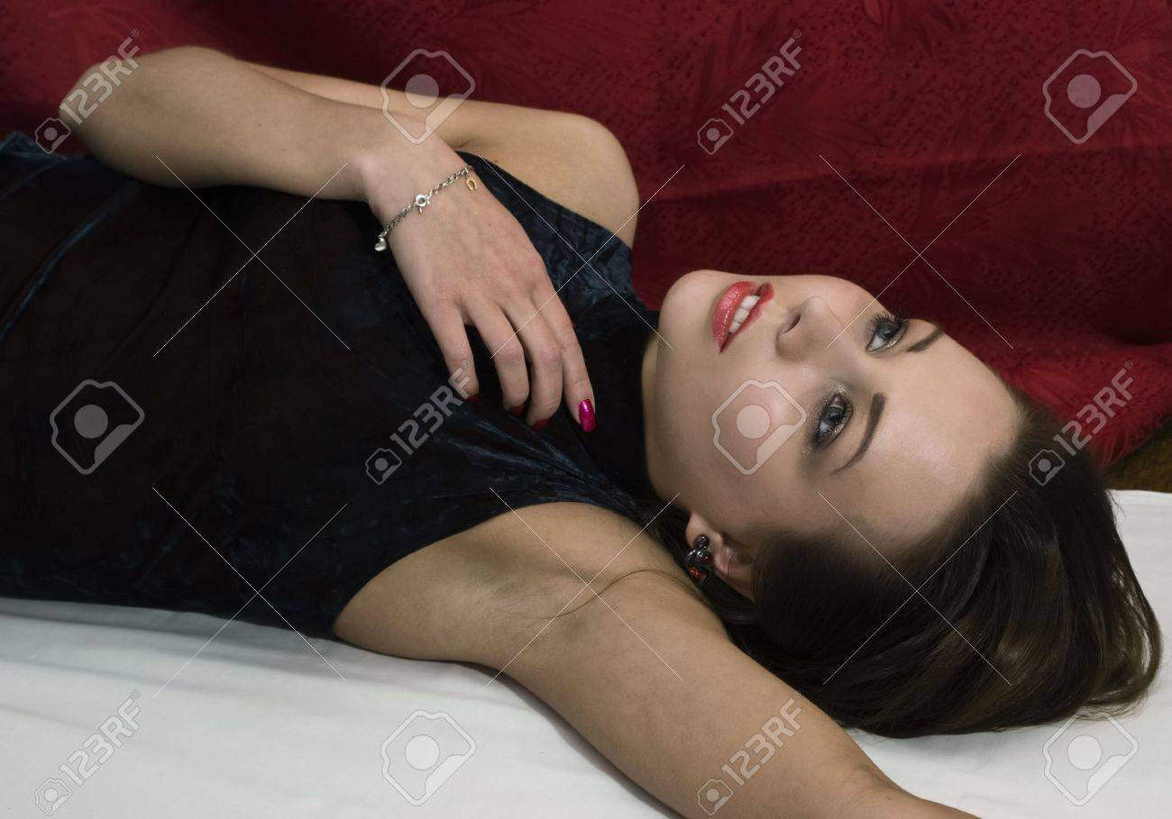 Crime scene: young poisoned woman. Studio shot. Stock Photo - 6275686