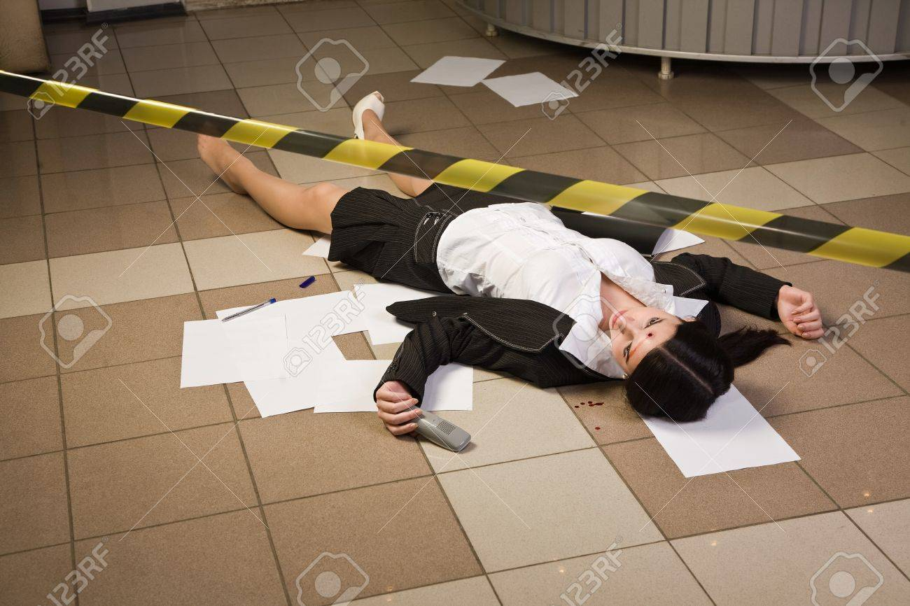Crime scene with killed businesswoman in a office Stock Photo - 9137642