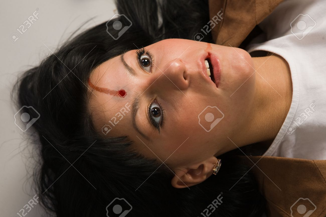 Face of the lifeless killed businesswoman in a office Stock Photo - 9137745