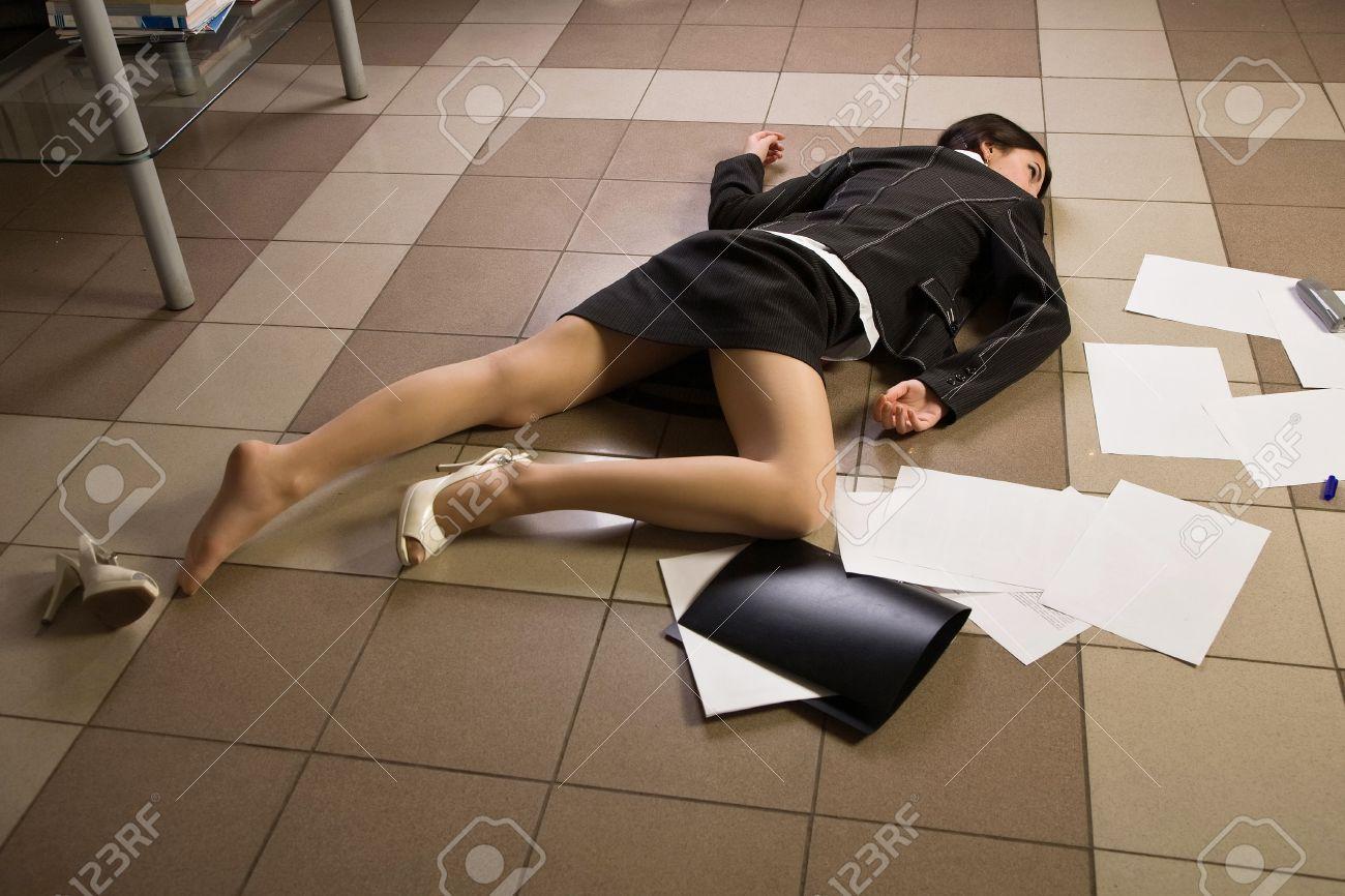 Crime scene in a office with dead secretary Stock Photo - 11432983