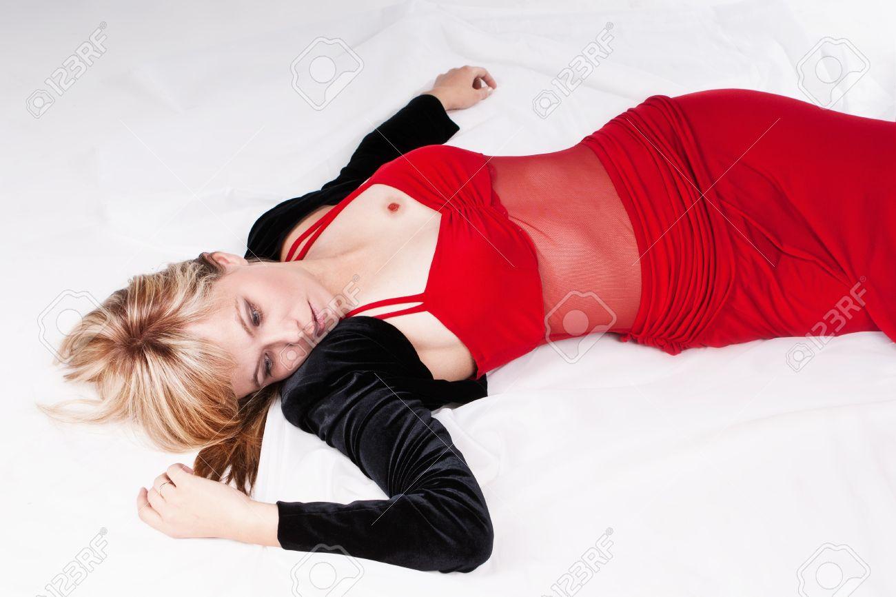 Crime scene simulation: dead  blonde lying on the floor Stock Photo - 13362779