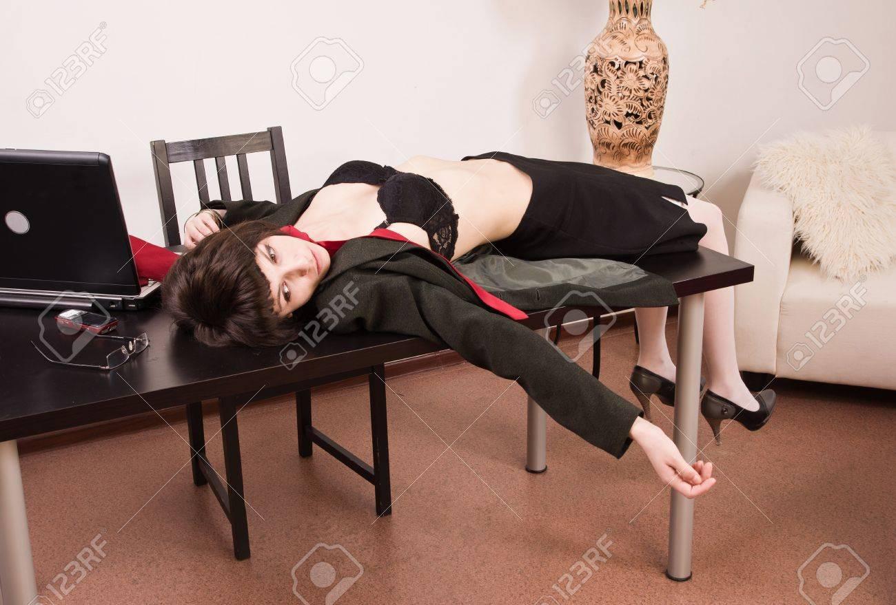 Crime scene imitation. Lifeless secretary in a office Stock Photo - 13761659