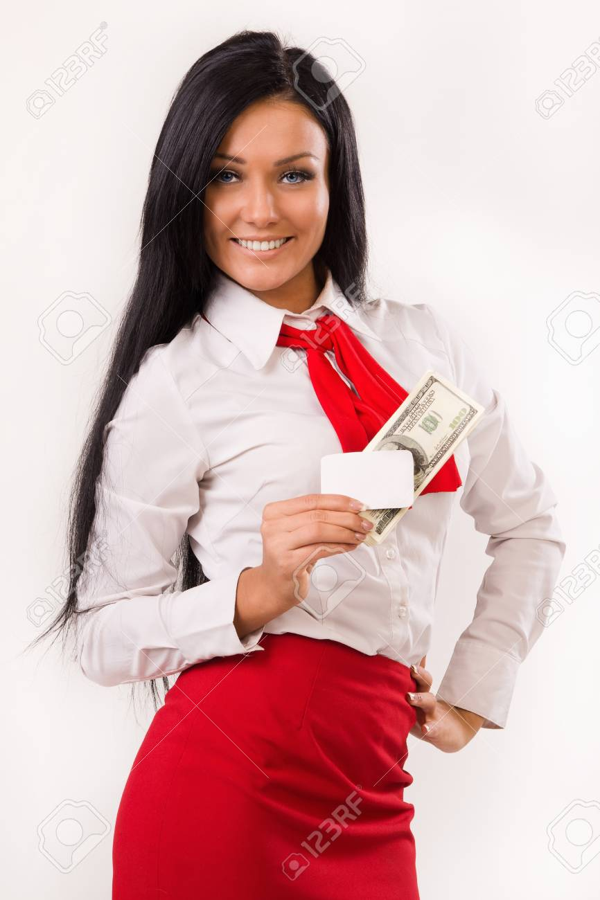 Happy business woman with dollars and bank card over white Stock Photo - 16803158
