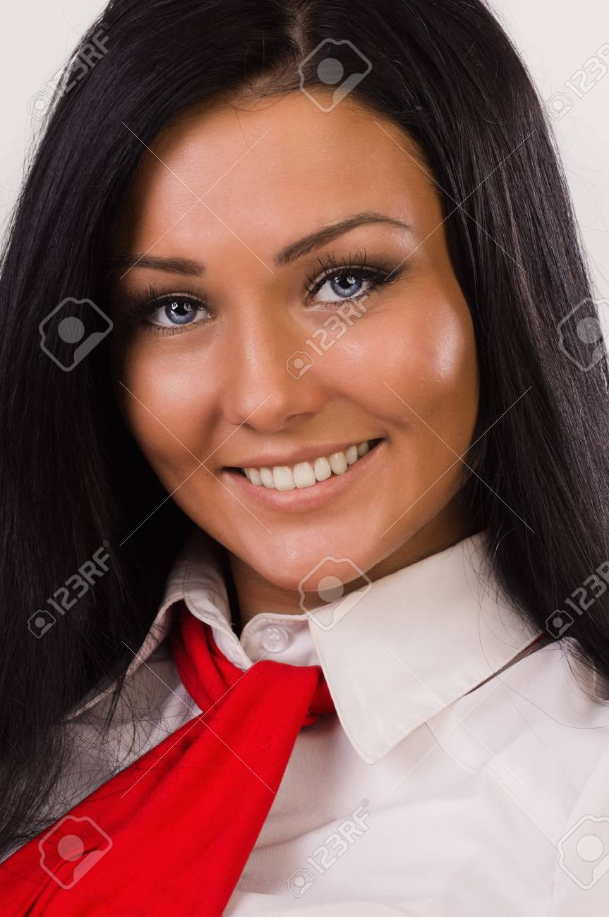 Portrait of a happy business woman over white Stock Photo - 16886315