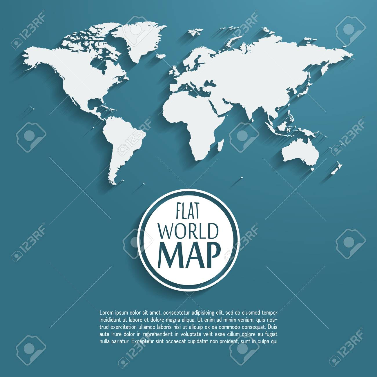 vector vector world map background with long shadow and flat design style clean and modern