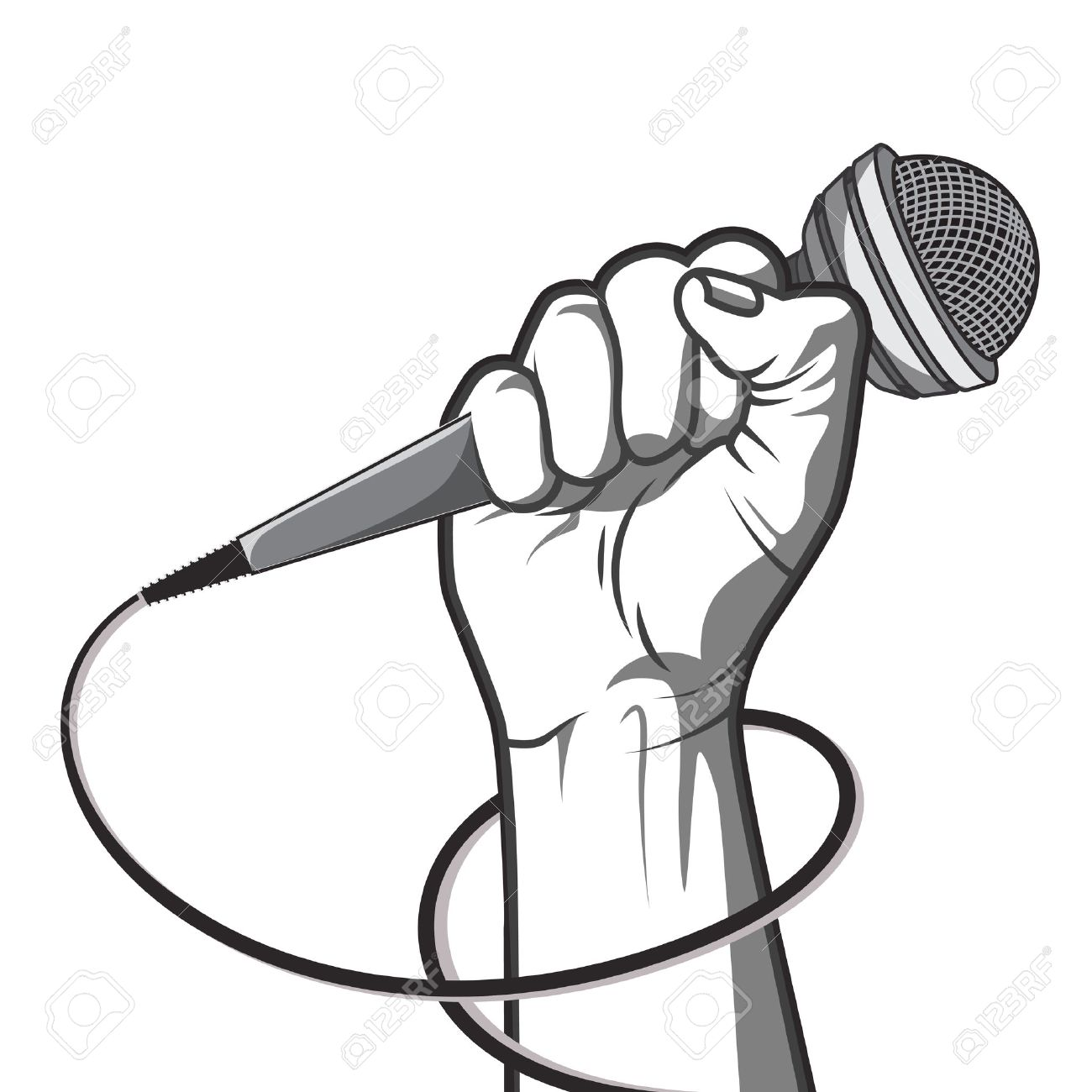 hand holding a microphone in a fist. illustration in black and white style. - 54582148