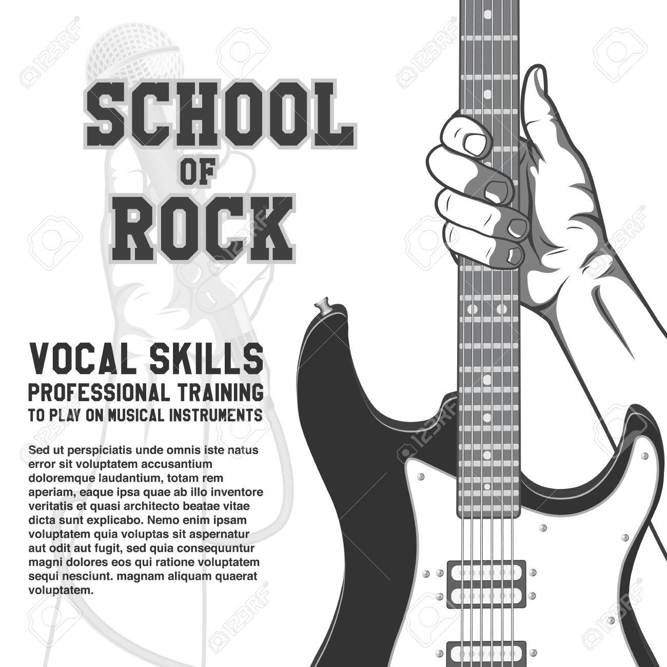 Postereck-Poster 0078-E Guitar Black White Music Instrument Rock Pop