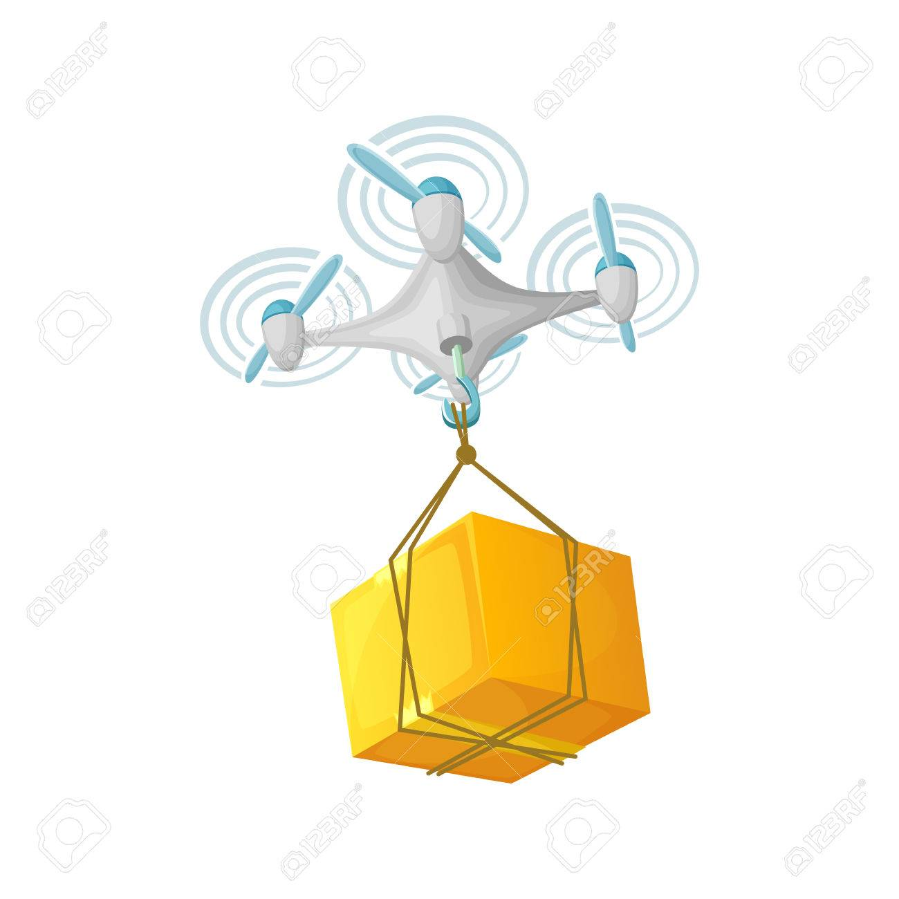 Drone Delivery Concept Design Modern Cartoon Vector Illustration Quadcopter Transportation Of Goods Stock