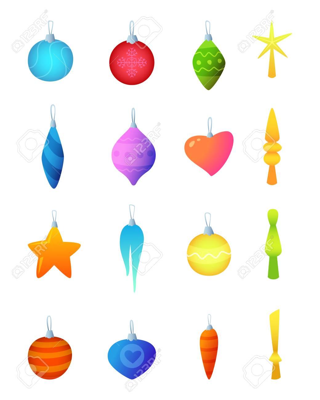 Christmas Tree Decorations.Balls, Star, Icicle Decor. Vector ...