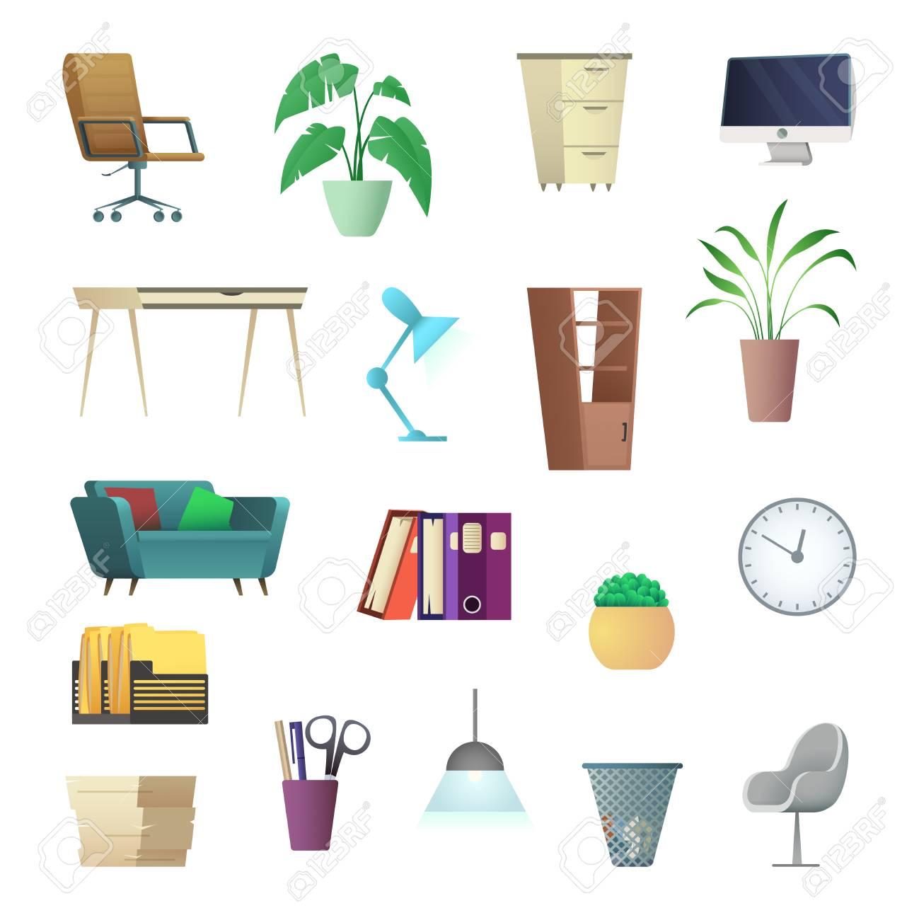 Muebles De Oficina Y Objetos De Interior Colecci N De Dibujos  # Muebles Dibujos Animados