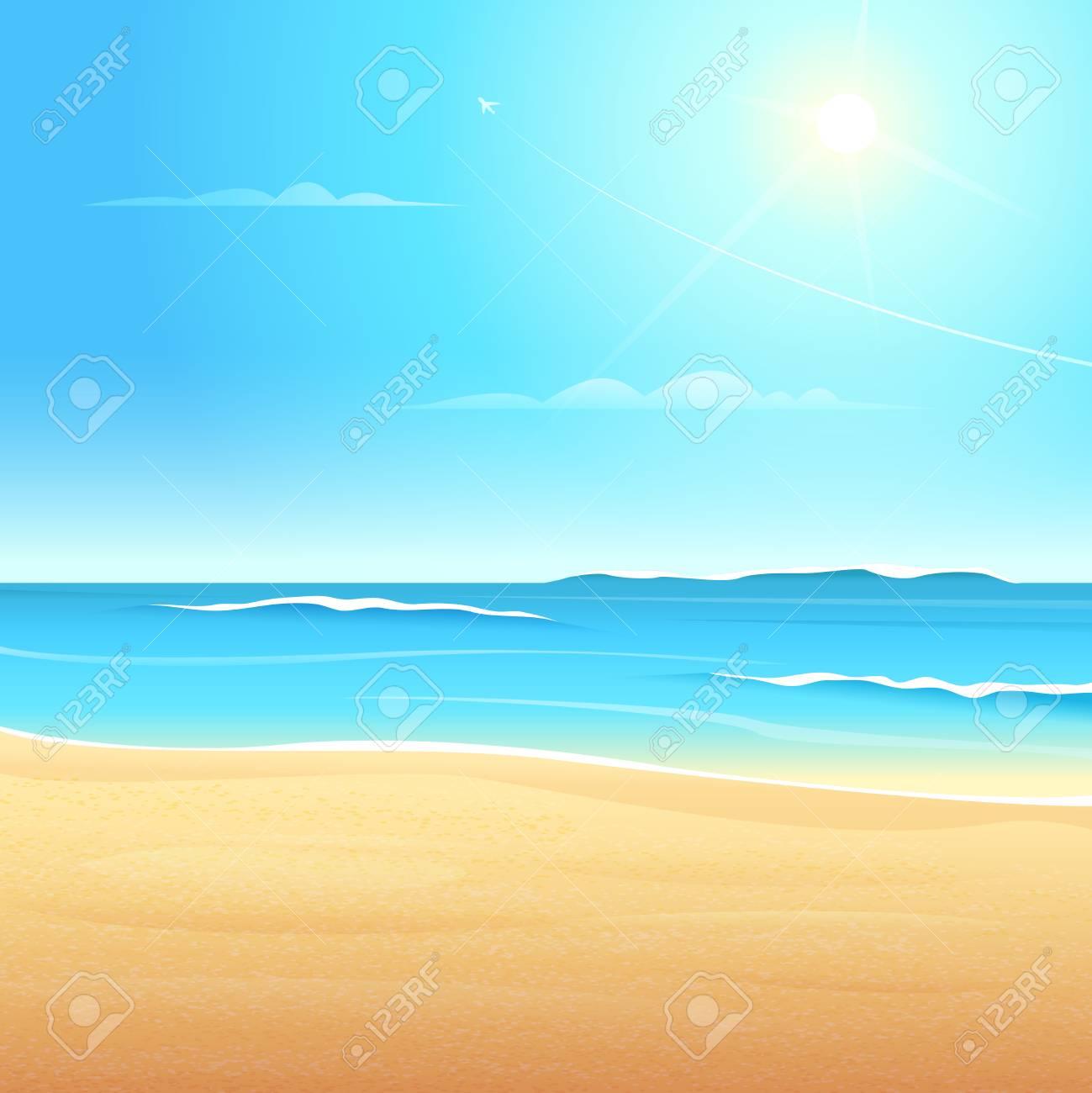 波砂浜の海岸と海のビーチの眺めきれい青い空太陽が輝くのイラスト