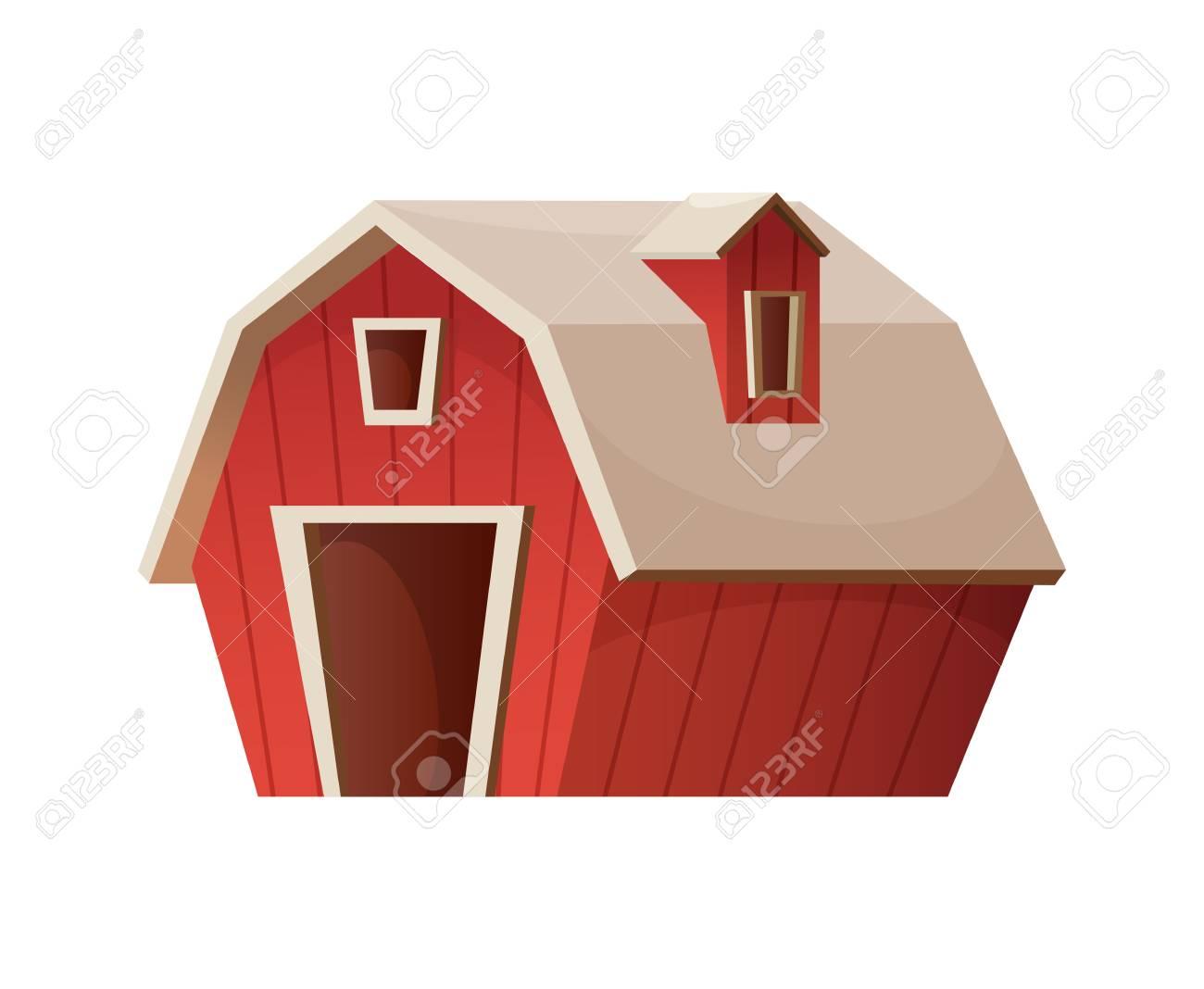 Farm Concept Red Barn House Cartoon Vector Icon
