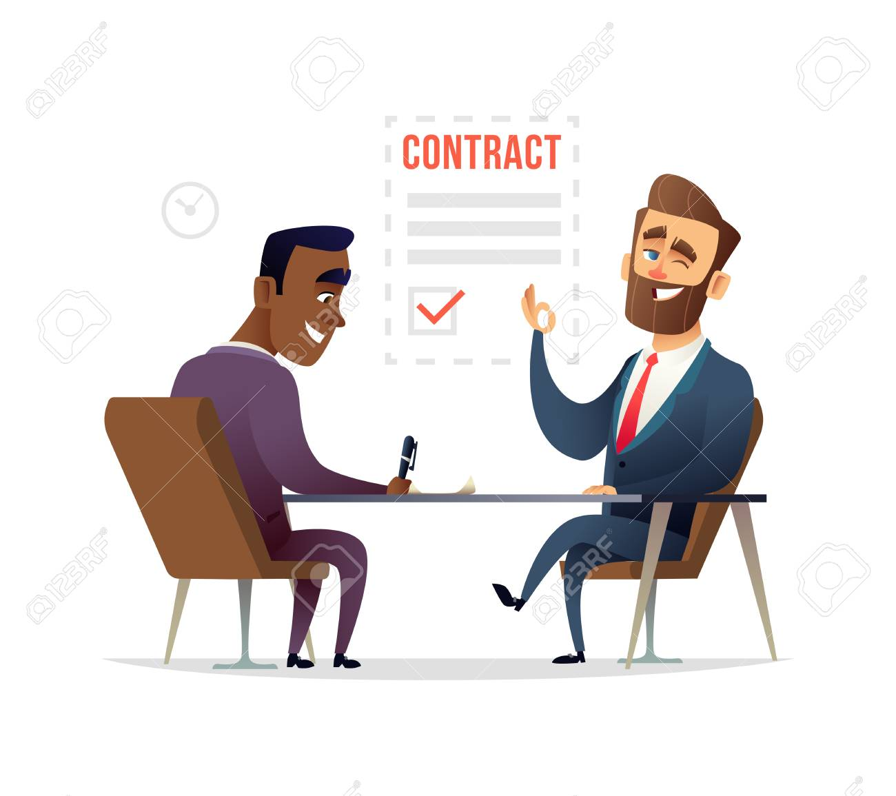 Partners Signing Contract Agreement Vector Illustration Royalty Free
