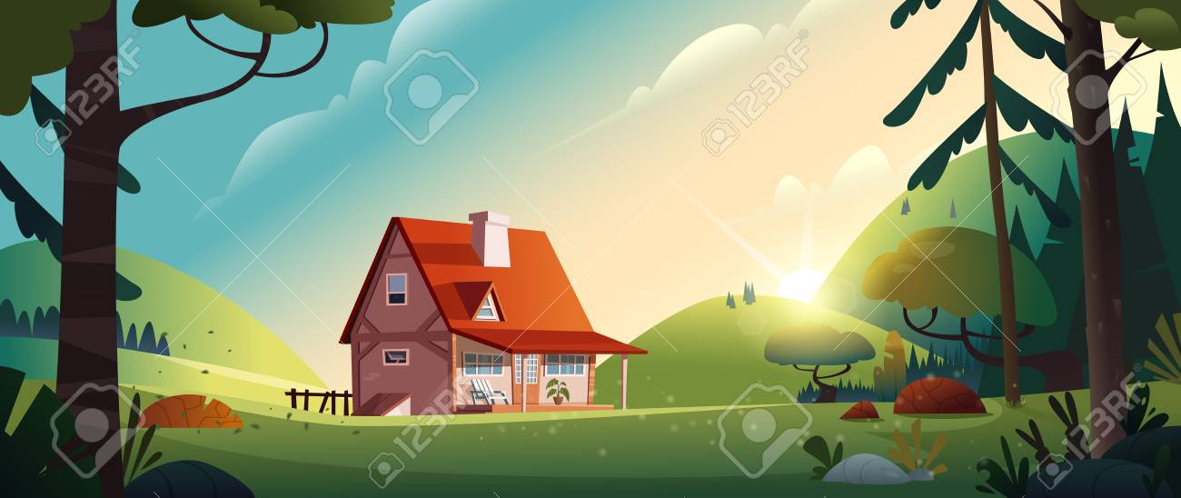 Country house in the forest. Farm in the countryside. Cottage among trees. Cartoon vector illustration. - 108037877
