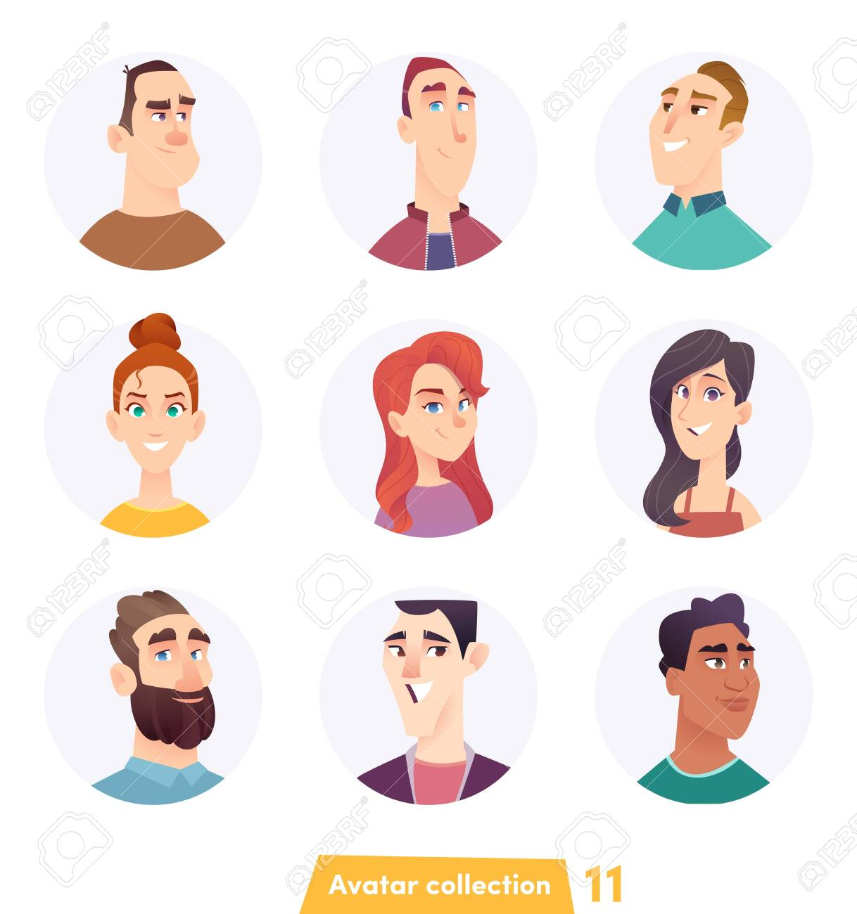 avatar character design cheerful people avatar collection. user faces. trendy modern..