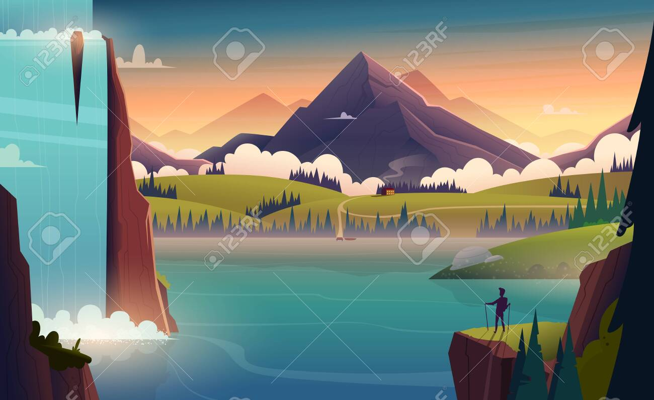 Modern cartoon landscape illustration of river in the mountains with a waterfall and a person in front - 133178585