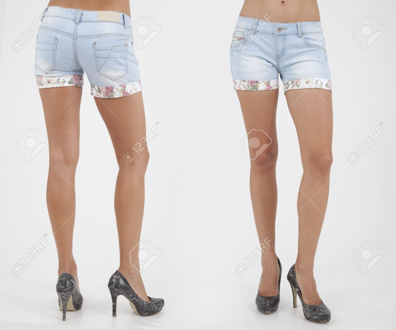 Pretty Women In Shorts On White Background Back And Front Views ...