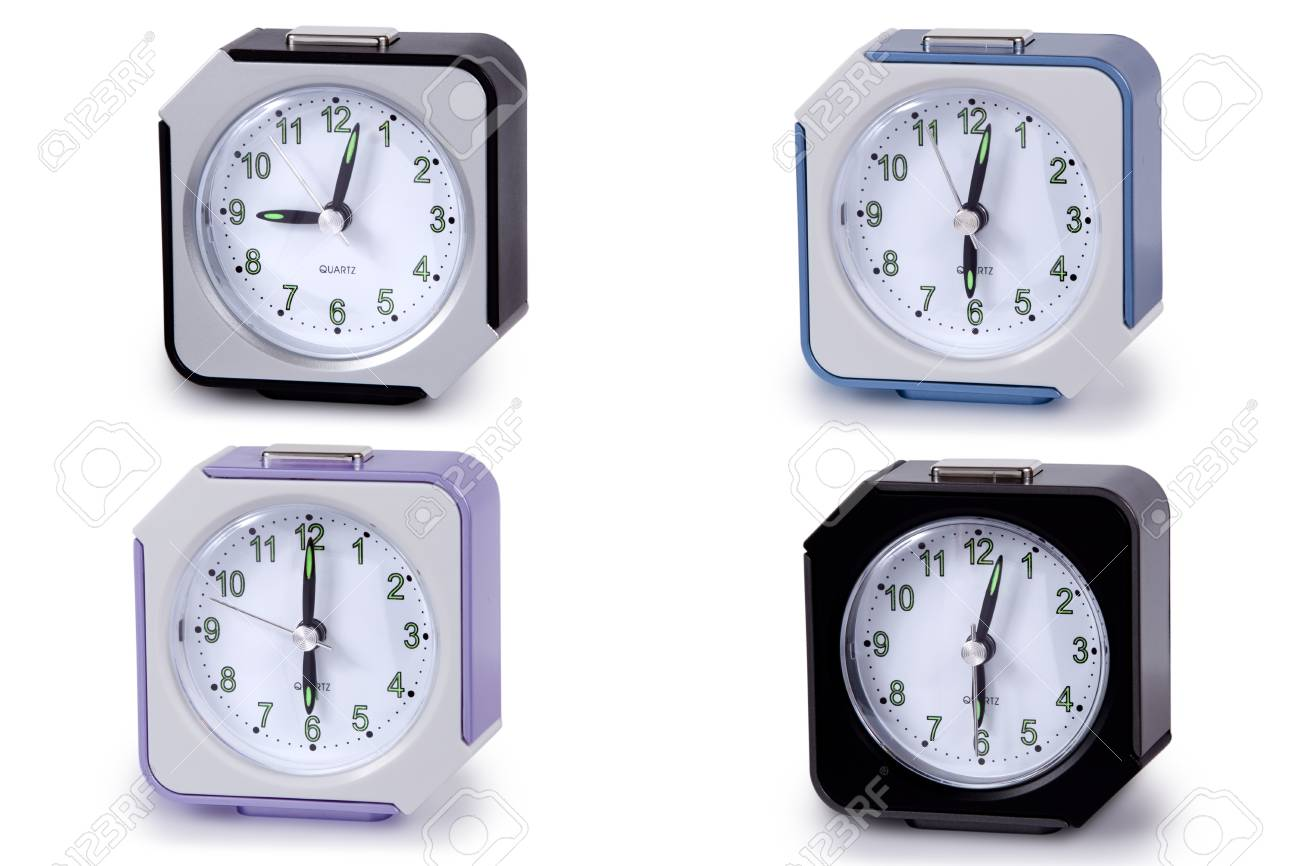 Modern alarm clock multi-colour isolated en white background