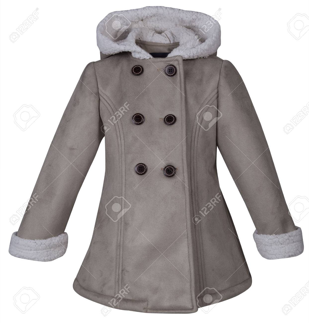 5e475249feec Baby Leather Coat With Fur Isolated On White Background. Stock Photo ...