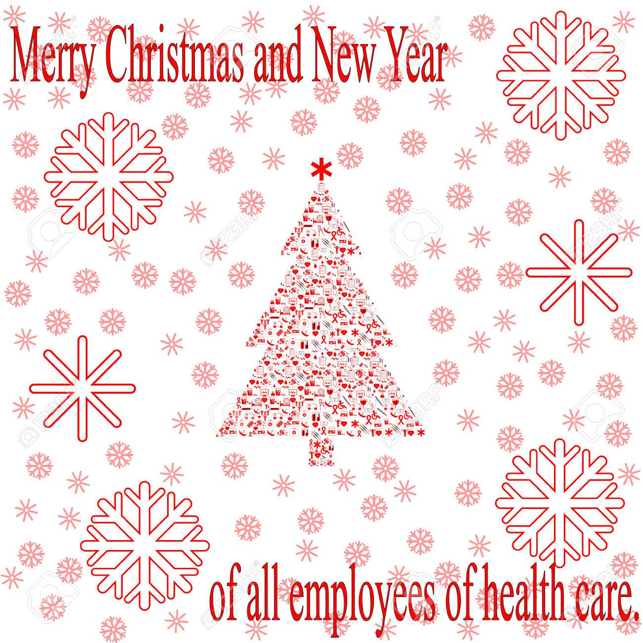 Greeting Christmas Card For Employees Of Health Care Royalty Free