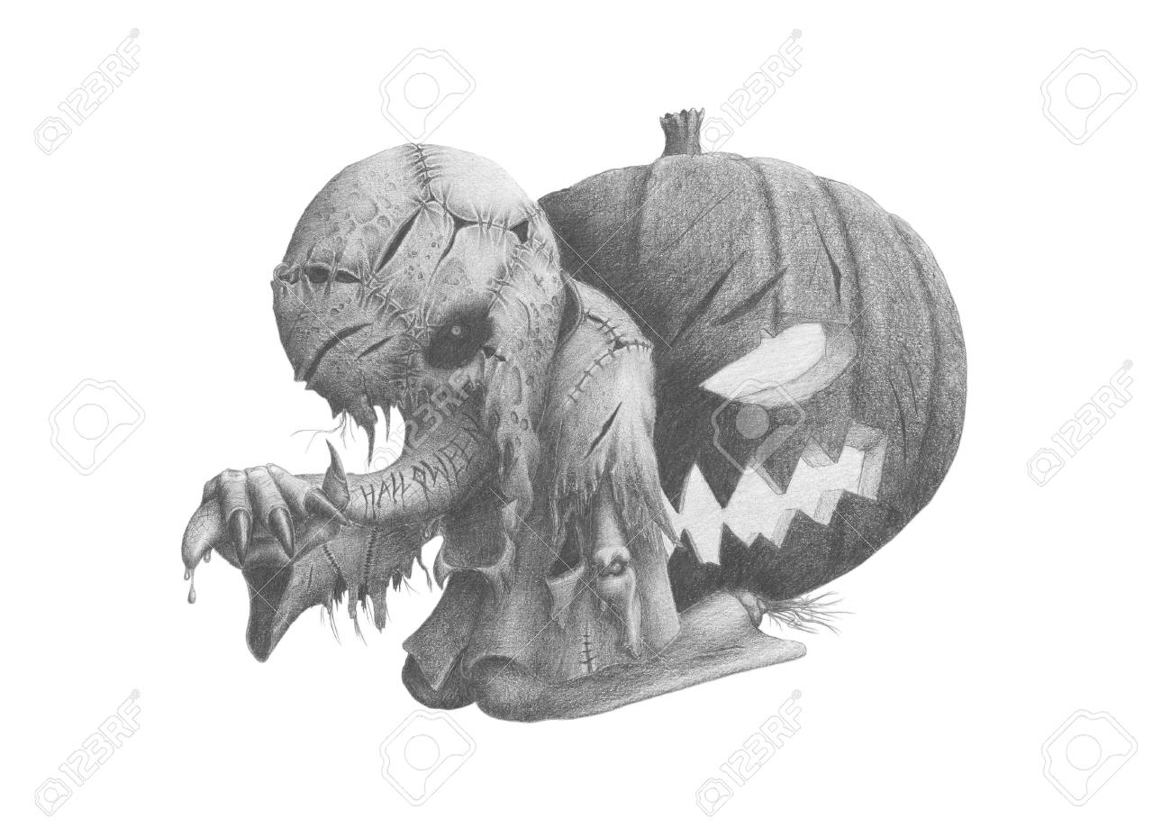picture strange creature on the background of a pumpkin Stock Photo - 13046884