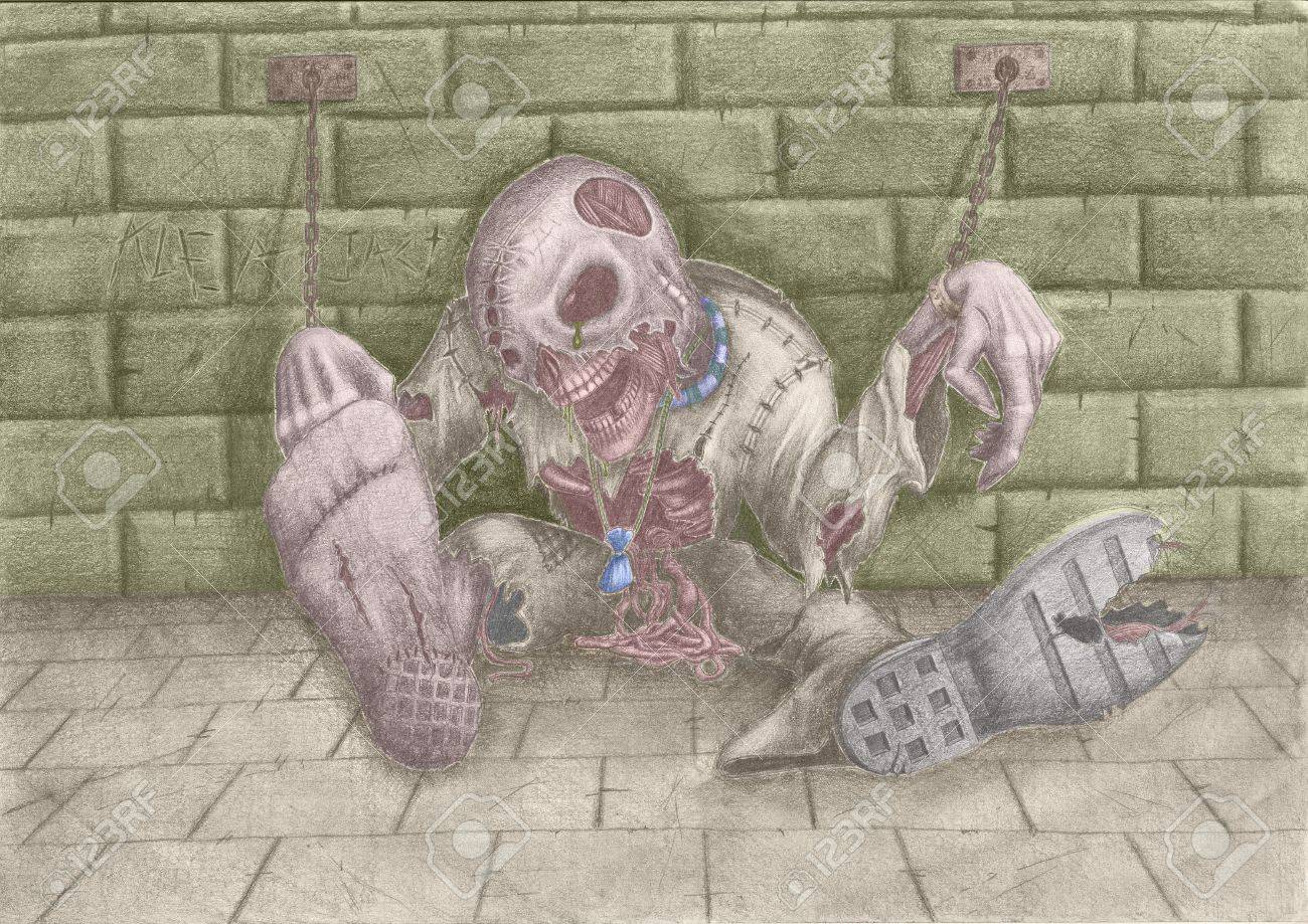 Drawing on the theme of Halloween  Horrible dead thing, shackles chaining to a wall Stock Photo - 13475763