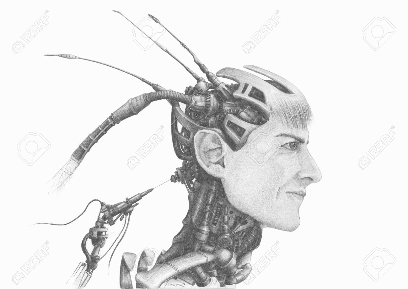 Pencil drawing of the head of cybernetic robot android stock photo 15390421