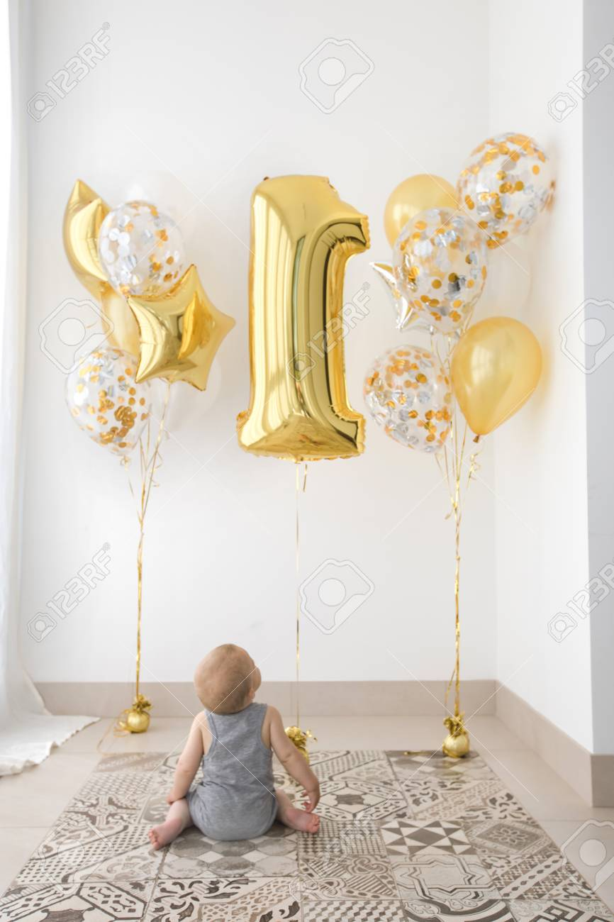 Babies First Birthday One Year Old With Balloons Stock Photo