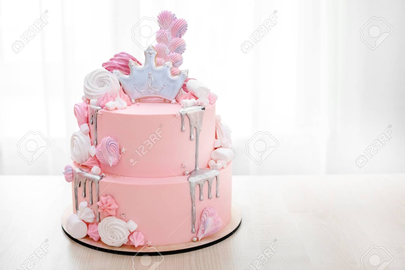 Incredible Pink Marble Cake With Marshmallows On A Plate Close Up Stock Funny Birthday Cards Online Elaedamsfinfo