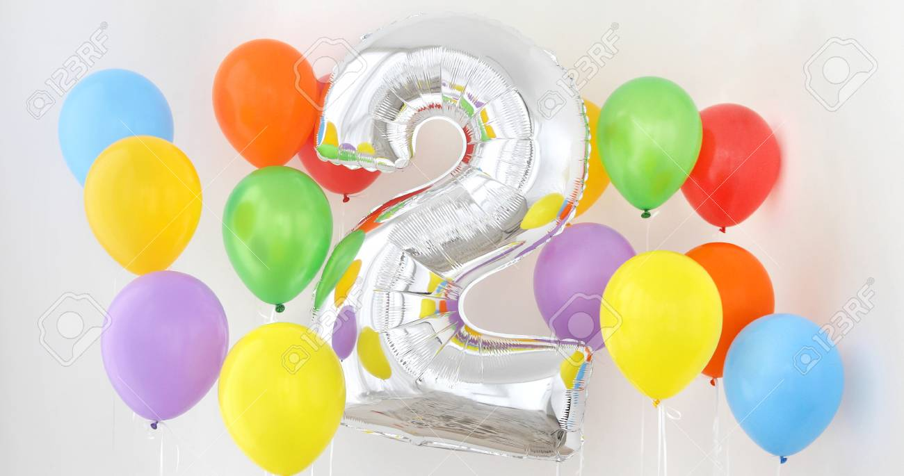Number 2 Two Of Color Balloon On A Light Background Birthday For Baby With