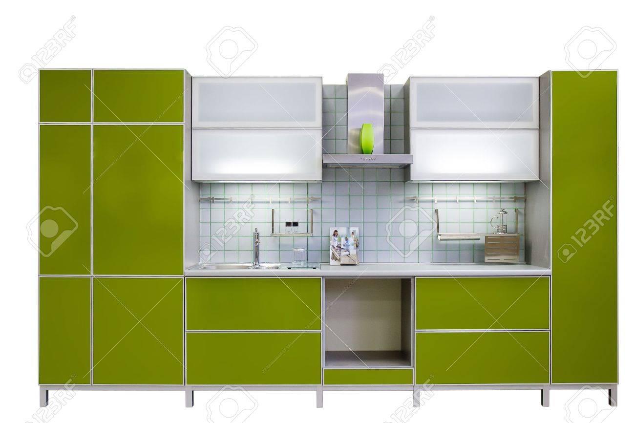 Moderne Grüne Küche, Die Auf Weißen Hintergrund Isoliert Lizenzfreie ...