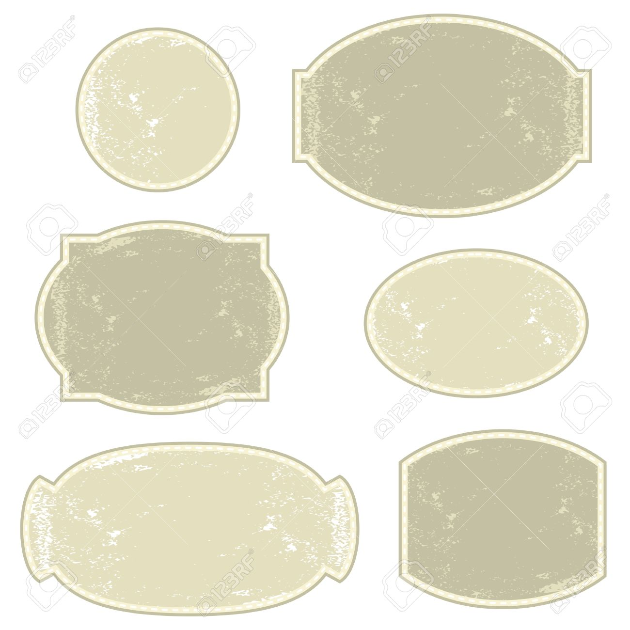vintage light monochrome six round and oval label set Stock Vector - 16454284