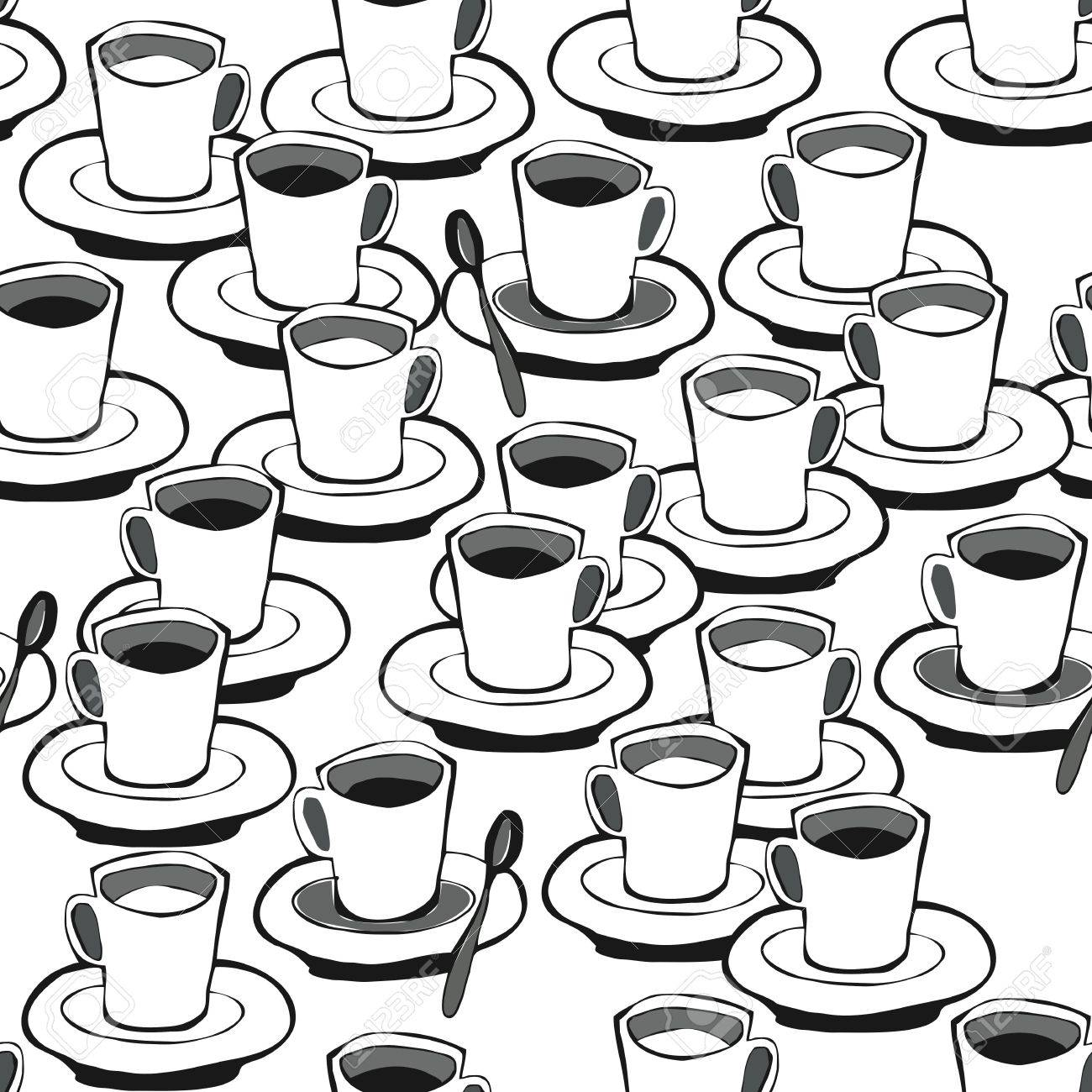 black coffee white coffee black and white seamless pattern on white Stock Vector - 16533985