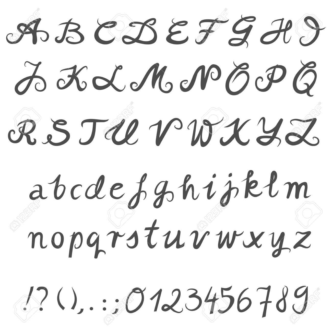 Hand Drawn Gray Letters And Numbers White Background Alphabet