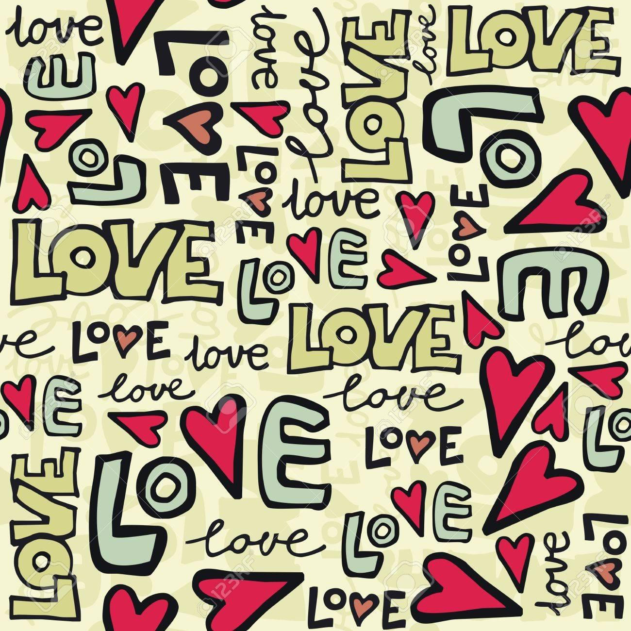 love retro colors graffiti seamless pattern on beige Stock Vector - 16701013