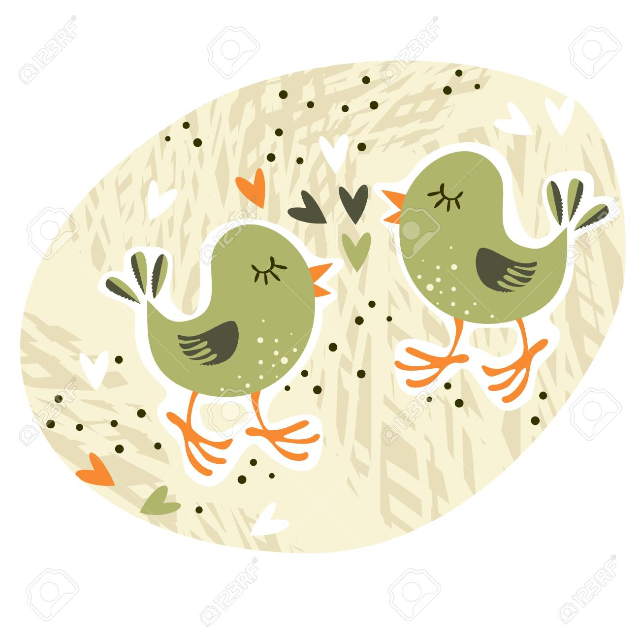 love card illustration with little birds and hearts centerpiece Stock Vector - 17128694