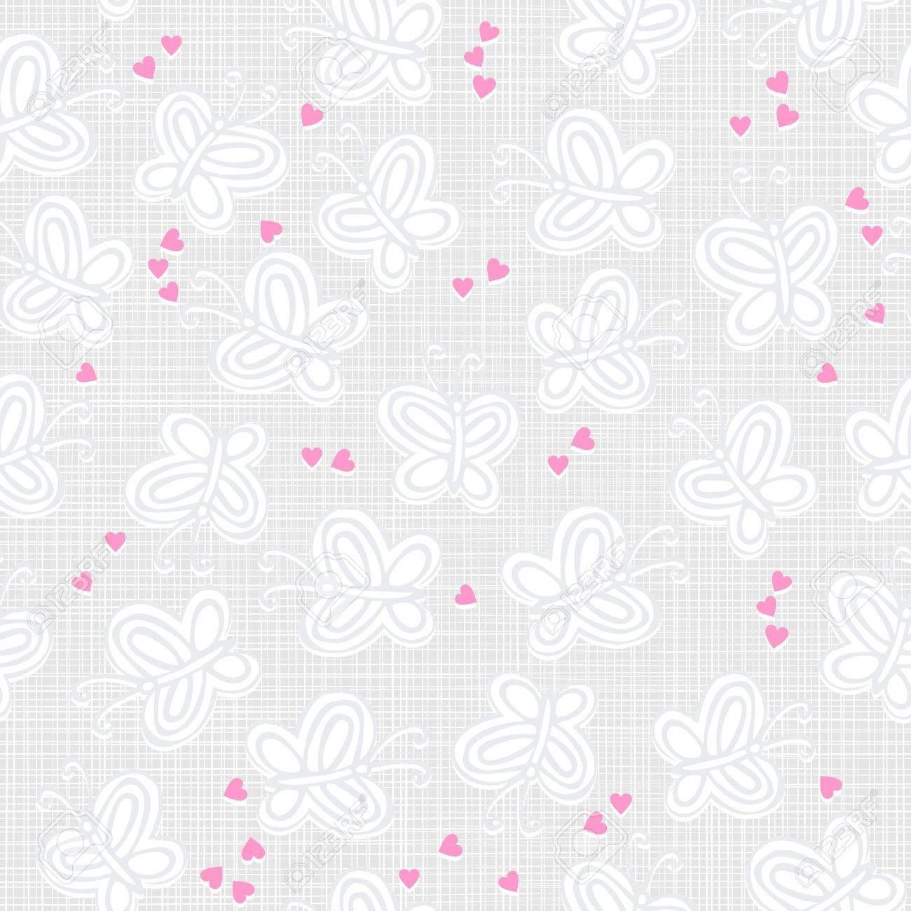 Vettoriale Farfalle Grigie E Bianche E Cuori Rosa Sulla Luce