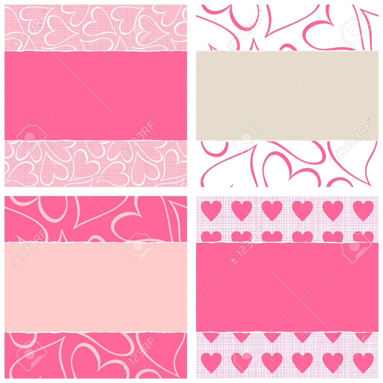 lovely pink beige white hearts horizontal seamless pattern set torn on light background with place for your text Stock Vector - 17273176