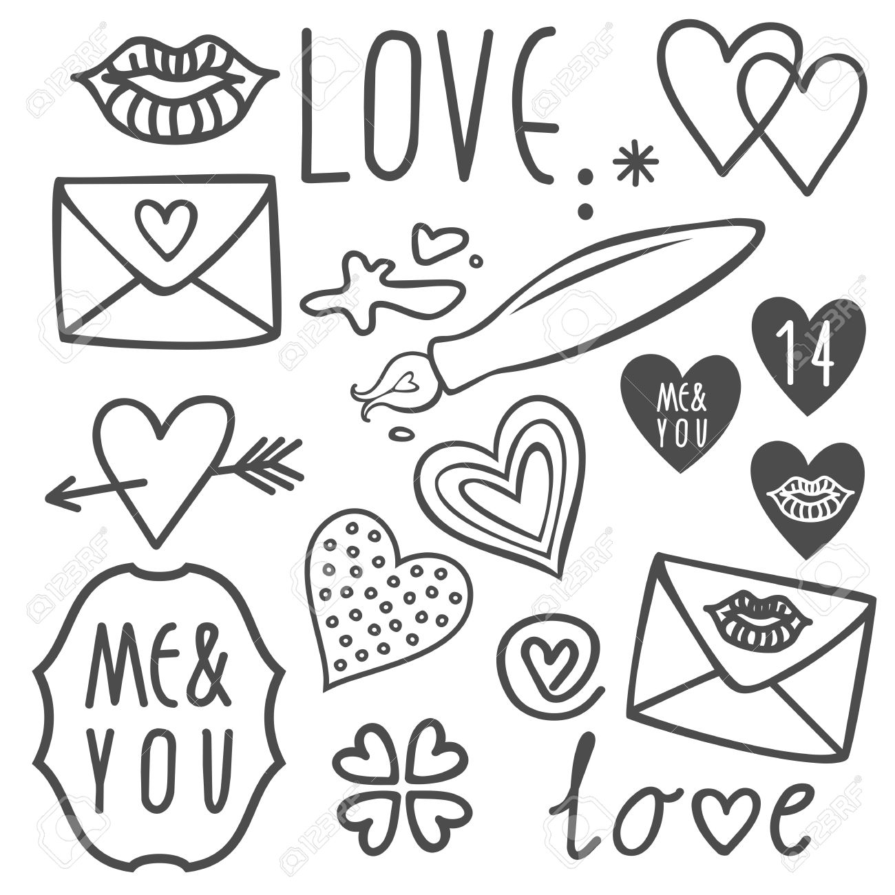 Simple Hand Drawn Gray Love Doodles Isolated On White Background