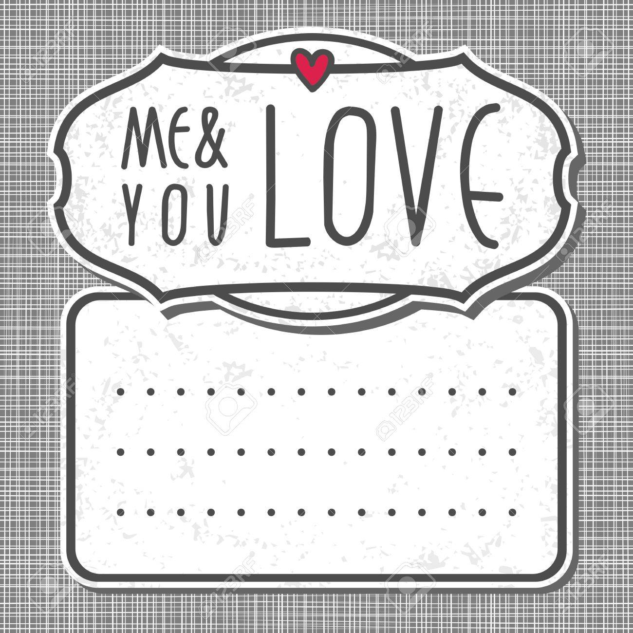 gray white big label me and you love on gray patterned background Stock Vector - 17476834