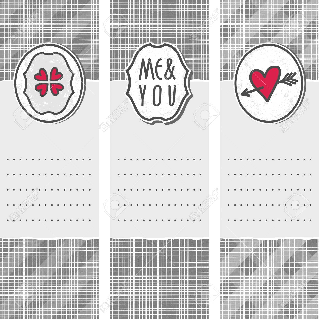 set of three long valentines day love romantic cards in gray white and red with heart clover me and you sign and pierced heart Stock Vector - 17681292