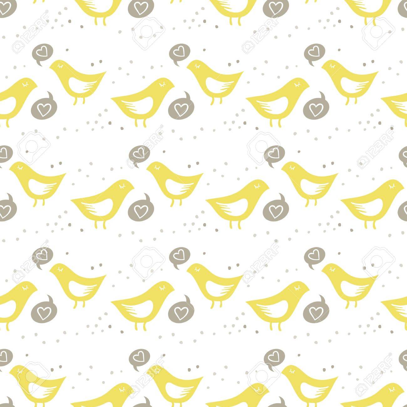 yellow birds singing of love on white background with little dots romantic love marriage wedding seamless pattern Stock Vector - 18688045