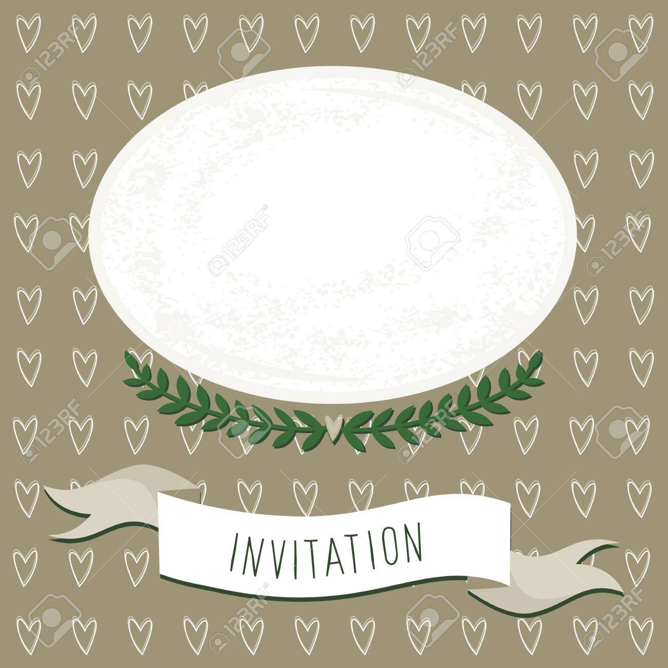 Wedding Invitation Blank Card With Delicate Grunge Oval Portrait Place On Brown Heart Patterned Background
