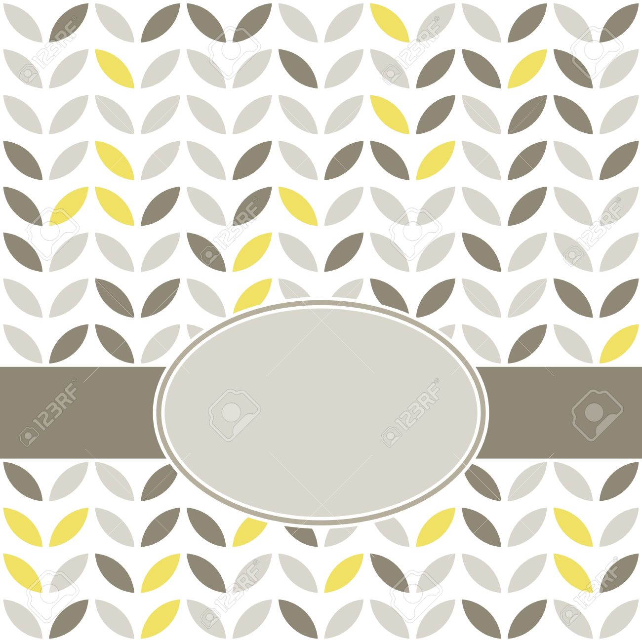 retro beige yellow brown leaves shaped elements in rows on white background abstract geometric background with oval blank label on dark ribbon celebration card Stock Vector - 18953277