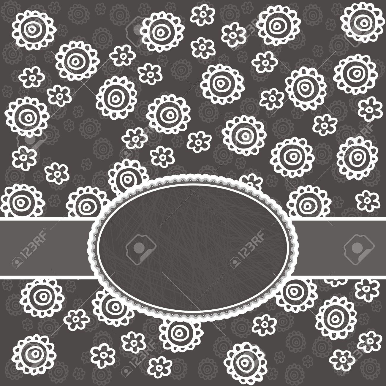 Dentelle Dessin monochromes délicates fleurs de dentelle blanche sur fond gris de